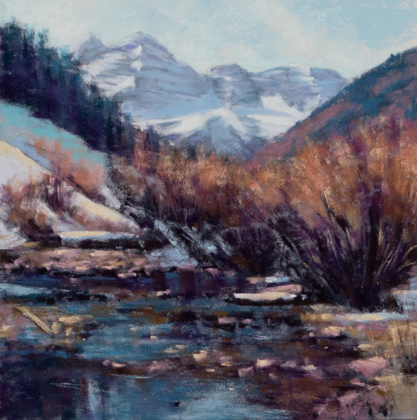 Below the Maroon Bells in Winter Study